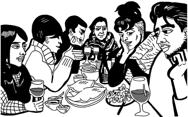 Drawing of the Armenians and their Azerbaijani friends at dinner