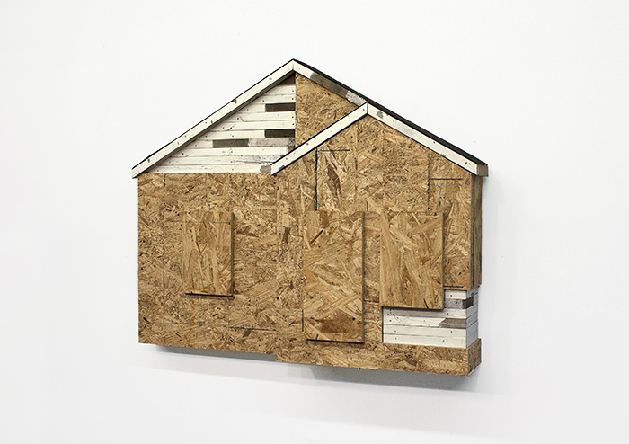 Fletcher Williams III, Closed-In. 2016, reclaimed Wood, shingle. 31 × 25 × 5