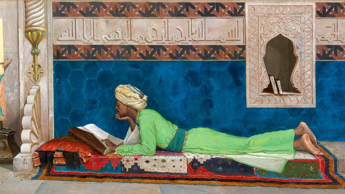 Osman Hamdy, A Young Emir Studying. Via Louvre Abu Dhabi.